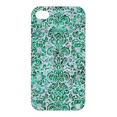 Damask2 White Marble & Green Marble (r) Apple Iphone 4/4s Hardshell Case by trendistuff