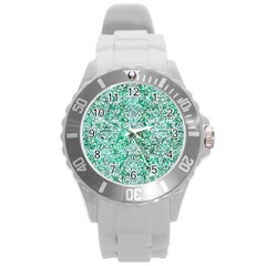 Damask2 White Marble & Green Marble Round Plastic Sport Watch (l) by trendistuff