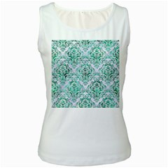 Damask1 White Marble & Green Marble (r) Women s White Tank Top by trendistuff