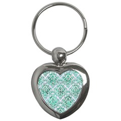 Damask1 White Marble & Green Marble (r) Key Chains (heart)  by trendistuff