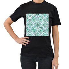 Damask1 White Marble & Green Marble (r) Women s T Shirt (black) (two Sided)