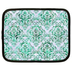 Damask1 White Marble & Green Marble (r) Netbook Case (large) by trendistuff