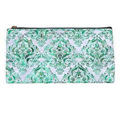 Damask1 White Marble & Green Marble (r) Pencil Cases by trendistuff