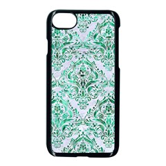 Damask1 White Marble & Green Marble (r) Apple Iphone 8 Seamless Case (black)