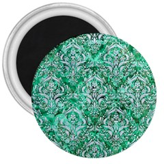Damask1 White Marble & Green Marble 3  Magnets by trendistuff