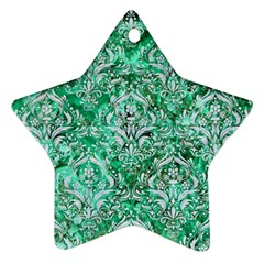 Damask1 White Marble & Green Marble Ornament (star)