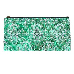 Damask1 White Marble & Green Marble Pencil Cases by trendistuff