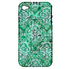 Damask1 White Marble & Green Marble Apple Iphone 4/4s Hardshell Case (pc+silicone) by trendistuff