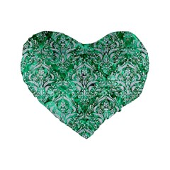 Damask1 White Marble & Green Marble Standard 16  Premium Flano Heart Shape Cushions by trendistuff