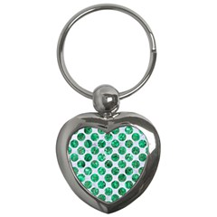 Circles2 White Marble & Green Marble (r) Key Chains (heart)  by trendistuff