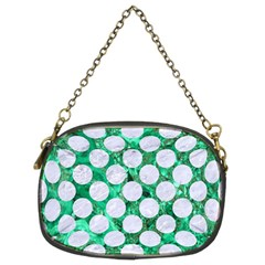 Circles2 White Marble & Green Marble Chain Purses (two Sides)