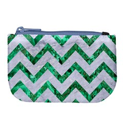 Chevron9 White Marble & Green Marble (r) Large Coin Purse