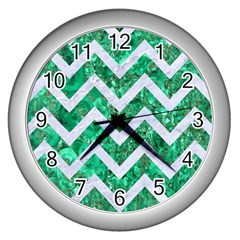 Chevron9 White Marble & Green Marble Wall Clock (silver) by trendistuff