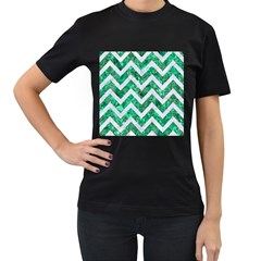 Chevron9 White Marble & Green Marble Women s T Shirt (black) (two Sided)