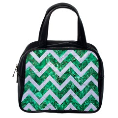 Chevron9 White Marble & Green Marble Classic Handbags (one Side) by trendistuff