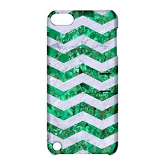 Chevron3 White Marble & Green Marble Apple Ipod Touch 5 Hardshell Case With Stand by trendistuff