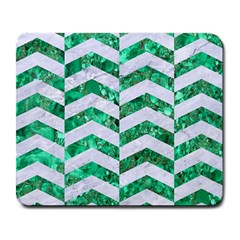 Chevron2 White Marble & Green Marble Large Mousepads by trendistuff
