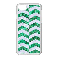Chevron2 White Marble & Green Marble Apple Iphone 8 Seamless Case (white) by trendistuff