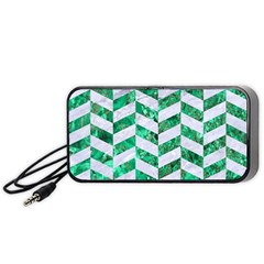 Chevron1 White Marble & Green Marble Portable Speaker