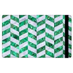 Chevron1 White Marble & Green Marble Apple Ipad 3/4 Flip Case by trendistuff