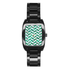 Chevron1 White Marble & Green Marble Stainless Steel Barrel Watch by trendistuff