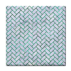 Brick2 White Marble & Green Marble (r) Tile Coasters by trendistuff