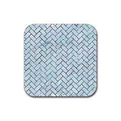 Brick2 White Marble & Green Marble (r) Rubber Square Coaster (4 Pack)