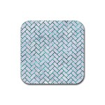 BRICK2 WHITE MARBLE & GREEN MARBLE (R) Rubber Square Coaster (4 pack)  Front