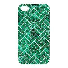 Brick2 White Marble & Green Marble Apple Iphone 4/4s Hardshell Case by trendistuff