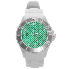 Brick2 White Marble & Green Marble Round Plastic Sport Watch (l) by trendistuff