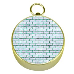 Brick1 White Marble & Green Marble (r) Gold Compasses by trendistuff