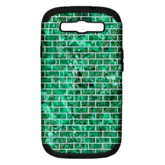 Brick1 White Marble & Green Marble Samsung Galaxy S Iii Hardshell Case (pc+silicone) by trendistuff