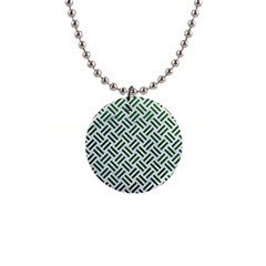 Woven2 White Marble & Green Leather (r) Button Necklaces by trendistuff