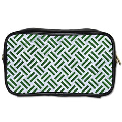 Woven2 White Marble & Green Leather (r) Toiletries Bags by trendistuff