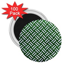 Woven2 White Marble & Green Leather 2 25  Magnets (100 Pack)  by trendistuff