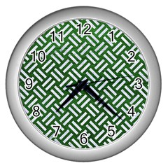 Woven2 White Marble & Green Leather Wall Clock (silver) by trendistuff