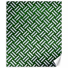 Woven2 White Marble & Green Leather Canvas 8  X 10  by trendistuff