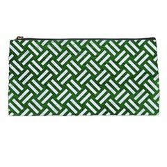 Woven2 White Marble & Green Leather Pencil Cases by trendistuff