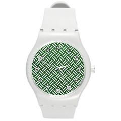 Woven2 White Marble & Green Leather Round Plastic Sport Watch (m) by trendistuff