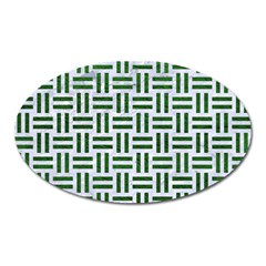 Woven1 White Marble & Green Leather (r) Oval Magnet by trendistuff