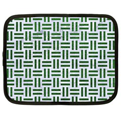 Woven1 White Marble & Green Leather (r) Netbook Case (large) by trendistuff