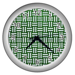 Woven1 White Marble & Green Leather Wall Clock (silver) by trendistuff
