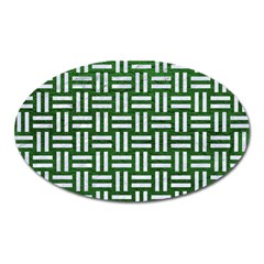 Woven1 White Marble & Green Leather Oval Magnet by trendistuff