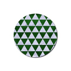 Triangle3 White Marble & Green Leather Rubber Round Coaster (4 Pack)  by trendistuff