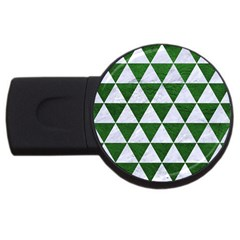 Triangle3 White Marble & Green Leather Usb Flash Drive Round (2 Gb) by trendistuff