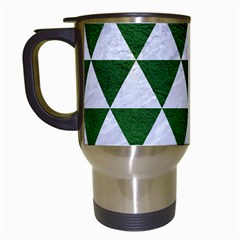 Triangle3 White Marble & Green Leather Travel Mugs (white) by trendistuff