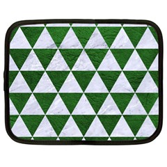 Triangle3 White Marble & Green Leather Netbook Case (xl)  by trendistuff