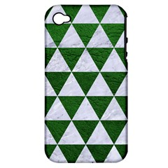 Triangle3 White Marble & Green Leather Apple Iphone 4/4s Hardshell Case (pc+silicone) by trendistuff