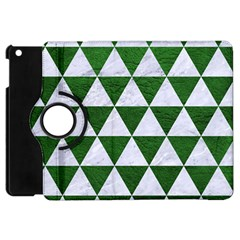 Triangle3 White Marble & Green Leather Apple Ipad Mini Flip 360 Case by trendistuff