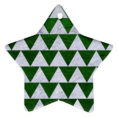 Triangle2 White Marble & Green Leather Ornament (star)